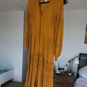 Anthropologie Gold/Mustard Bohemian Button Dress